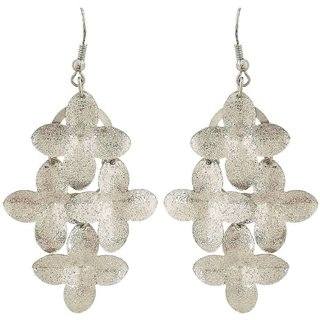 Maayra Cocktail Flower Earrings Silver Dangler Drop College Fashion Earrings