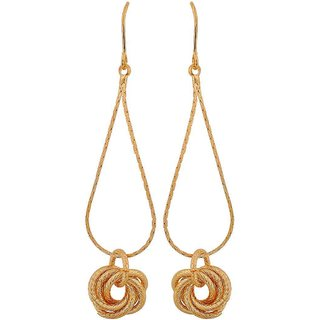 Maayra Hanging Knot Earrings Golden Dangler Drop College Fashion Earrings