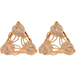 Maayra American Diamond Filigree Earrings Golden Ear Studs Office Casualwear Earrings