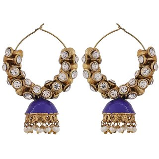 Maayra Meenakari Pearl Earrings Blue Hoops Festive Traditional Earrings