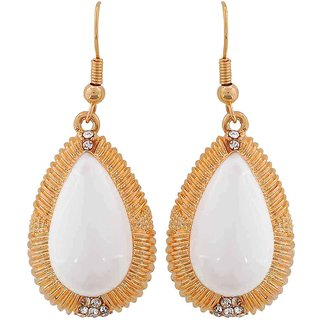 Maayra Designer Earrings White Dangler Drop College Fashion Earrings