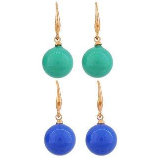 Maayra Hanging Earrings Combo Blue Green Dangler Drop Office Casualwear Earrings