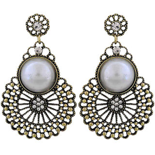 Maayra Pearl Filigree Earrings White Dangler Drop College Fashion Earrings