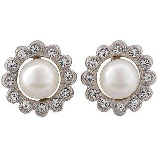Maayra Pearl Earrings White Ear Studs Office Casualwear Earrings
