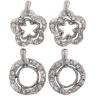 Maayra Designer Earrings Combo Silver Ear Studs Office Casualwear Earrings