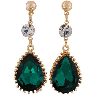 Maayra Designer Earrings Green Dangler Drop College Fashion Earrings