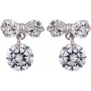 Maayra American Diamond Earrings Silver Ear Studs Office Casualwear Earrings