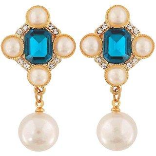 Maayra Pearl Earrings Blue White Dangler Drop College Fashion Earrings