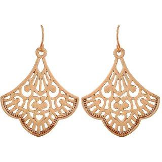 Maayra Filigree Earrings Golden Dangler Drop Office Casualwear Earrings