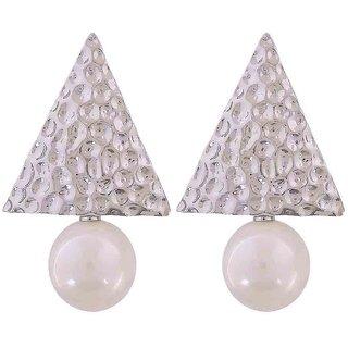 Maayra Designer Pearl Earrings White Dangler Drop College Fashion Earrings
