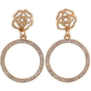 Maayra Flower Earrings Golden Dangler Drop College Fashion Earrings