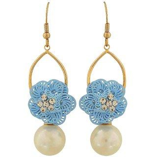 Maayra Hanging Flower Earrings White Blue Dangler Drop College Fashion Earrings