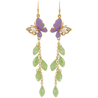 Maayra Hanging Butterfly Earrings Purple Green Dangler Drop College Fashion Earrings