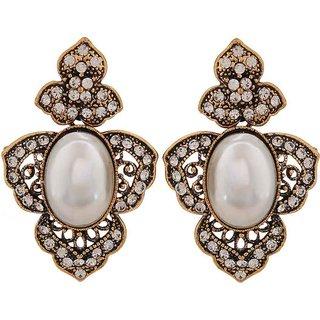 Maayra Victorian Cocktail Earrings White Dangler Drop College Fashion Earrings
