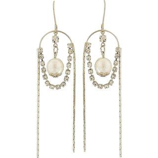 Maayra Pearl Earrings White Dangler Drop College Fashion Earrings