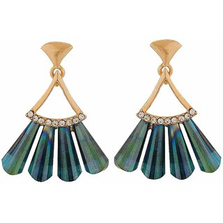 Maayra Designer Feather Earrings Blue Dangler Drop College Fashion Earrings