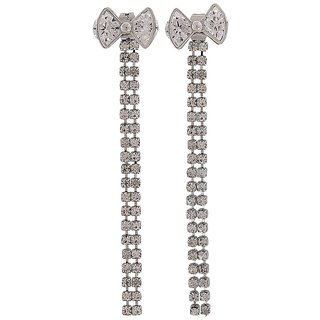 Maayra Stone Strings Earrings Silver Tassel College Fashion Earrings