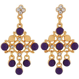 Maayra Enamel Earrings Purple Dangler Drop College Fashion Earrings
