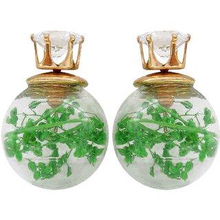 Maayra Two in One Earrings White Green Glass Studs Office Casualwear Earrings