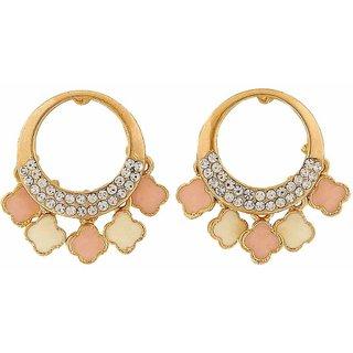 Maayra Enamel Earrings Pink Cream Dangler Drop Office Casualwear Earrings