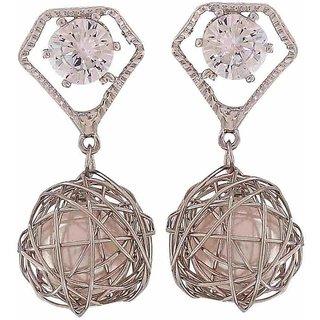 Maayra Knotted Pearl Earrings Silver Dangler Drop College Fashion Earrings