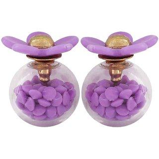 Maayra Flower Two in One Earrings Purple Glass Studs Office Casualwear Earrings