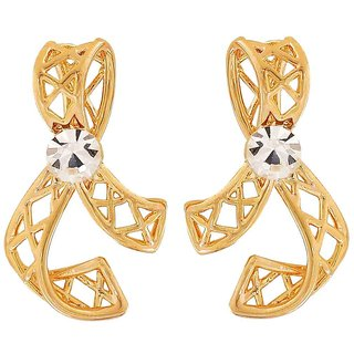 Maayra Filigree Bow Earrings Golden Dangler Drop Office Casualwear Earrings