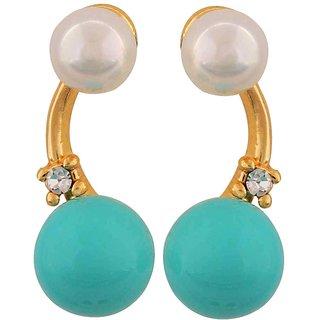 Maayra Pearl Earrings Blue White Dangler Drop Office Casualwear Earrings