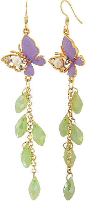 Maayra Cocktail Classic Earrings Green Dangler Drop Party Jewellery