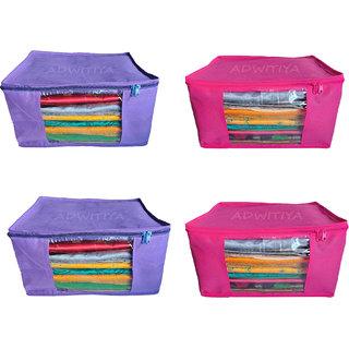 ADWITIYA Set of 4 Pcs Plain 10 inch Large Nonwoven Saree Salwar Suit Shirt Jeans Bedsheet Garment Cloth Cover Case