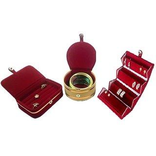 ADWITIYA- Combo of Red Earring Folder Ring Box Mini Bangle Storage Jewelry Organizer Travel Friendly Gift Case