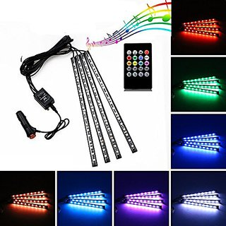 Multi-Color Music Controlled(Sound Activated) 12 LED Car Interior Atmosphere light with IR Remote Control