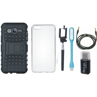 Oppo A37F Shockproof Tough Armour Defender Case with Memory Card Reader, Silicon Back Cover, Selfie Stick, USB LED Light and AUX Cable