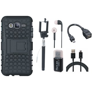Moto C Plus Defender Back Cover with Kick Stand with Memory Card Reader, Selfie Stick, Earphones, OTG Cable and USB Cable