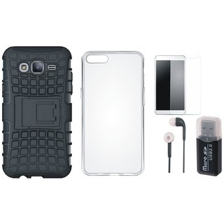 Oppo A37F Shockproof Tough Armour Defender Case with Memory Card Reader, Silicon Back Cover, Earphones and Tempered Glass