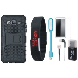Oppo A37F Shockproof Tough Armour Defender Case with Memory Card Reader, Free Digital LED Watch, Tempered Glass, LED Light and Earphones
