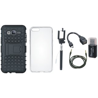 Moto C Plus Defender Back Cover with Kick Stand with Memory Card Reader, Silicon Back Cover, Selfie Stick, OTG Cable and AUX Cable