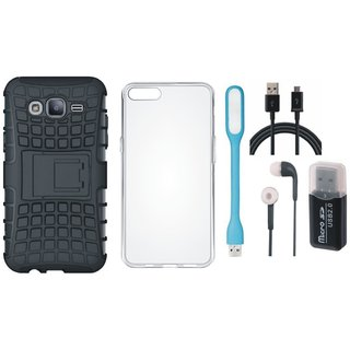 Moto C Plus Defender Back Cover with Kick Stand with Memory Card Reader, Silicon Back Cover, Earphones, USB LED Light and USB Cable