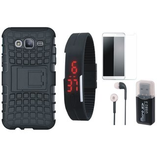 Oppo A37F Shockproof Kick Stand Defender Back Cover with Memory Card Reader, Free Digital LED Watch, Tempered Glass and Earphones