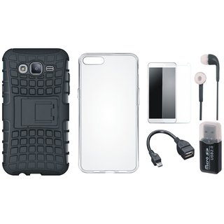 Oppo A37F Shockproof Kick Stand Defender Back Cover with Memory Card Reader, Silicon Back Cover, Tempered Glass, Earphones and OTG Cable