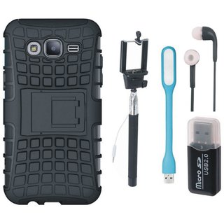 Samsung C9 Pro Defender Tough Hybrid Shockproof Cover with Memory Card Reader, Selfie Stick, Earphones and USB LED Light