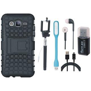 Samsung C9 Pro Defender Tough Hybrid Shockproof Cover with Memory Card Reader, Selfie Stick, Earphones, USB LED Light and USB Cable