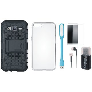 Samsung C9 Pro Shockproof Kick Stand Defender Back Cover with Memory Card Reader, Silicon Back Cover, Tempered Glass, Earphones and USB LED Light