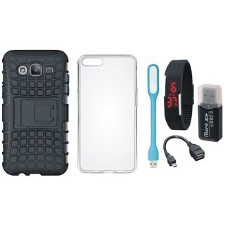 Samsung C9 Pro Shockproof Kick Stand Defender Back Cover with Memory Card Reader, Silicon Back Cover, Digital Watch, OTG Cable and USB LED Light
