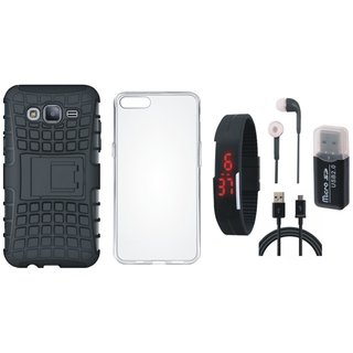 Samsung C9 Pro Shockproof Kick Stand Defender Back Cover with Memory Card Reader, Silicon Back Cover, Digital Watch, Earphones and USB Cable