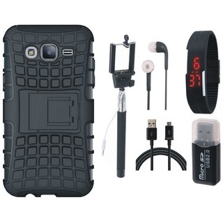 Samsung On7 Prime Defender Tough Armour Shockproof Cover with Memory Card Reader, Selfie Stick, Digtal Watch, Earphones and USB Cable