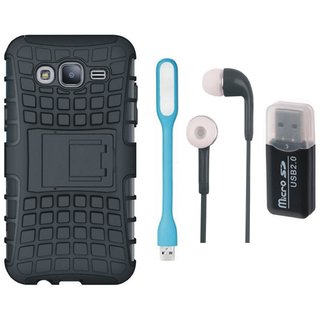 Samsung On7 Prime Shockproof Tough Armour Defender Case with Memory Card Reader, Earphones and USB LED Light