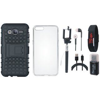 Oppo F5 Defender Back Cover with Kick Stand with Memory Card Reader, Silicon Back Cover, Selfie Stick, Digtal Watch, Earphones and USB Cable