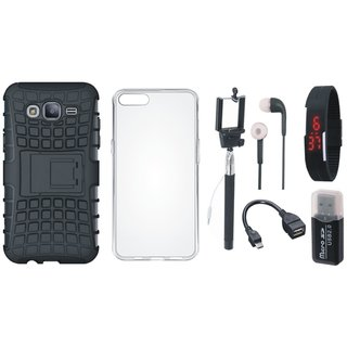 Oppo F5 Shockproof Tough Defender Cover with Memory Card Reader, Silicon Back Cover, Selfie Stick, Digtal Watch, Earphones and OTG Cable