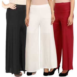 Pixie's Stylish Casual Wear Pant Palazzo Combo (Pack of 3) Black, White and Maroon - Free Size